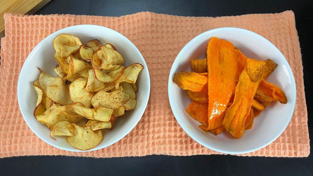 chip de zanahoria y manzana